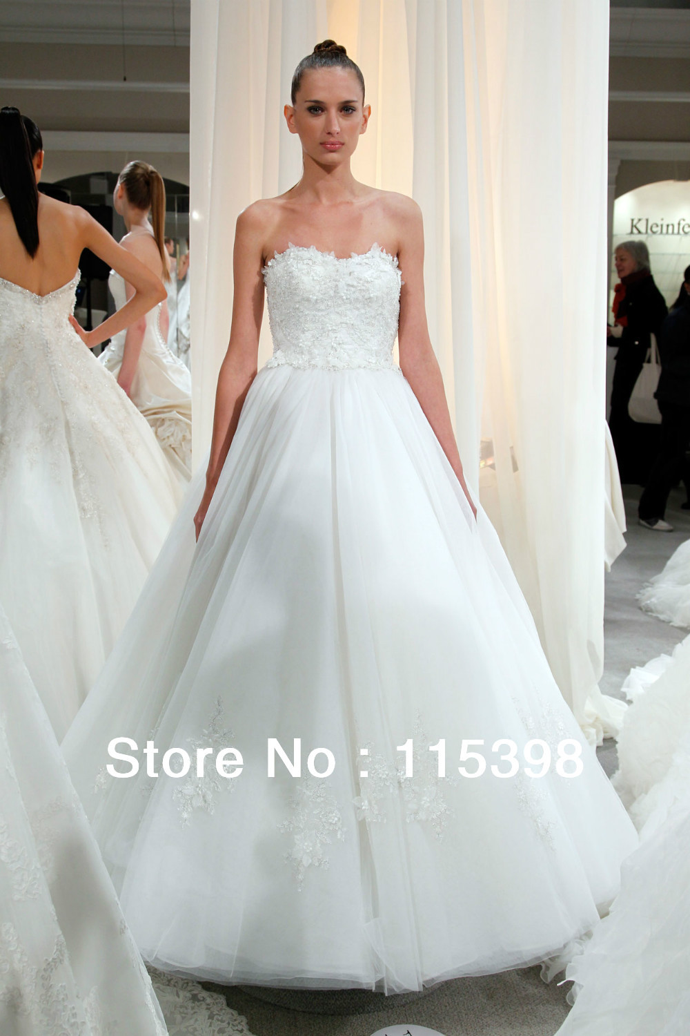 Des17044 simple white tulle strapless ball gown wedding for Wedding dress no train