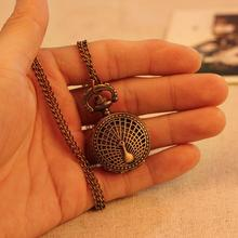 Small Peacock Pattern Retro Vintage Pocket Watch Women Necklace Quartz Alloy Pendant With Long Chain Wholesale