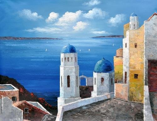 """Art works hand-painted decorative the Aegean Houses landscape oil painting on canvas 16""""X20""""(China (Mainland))"""
