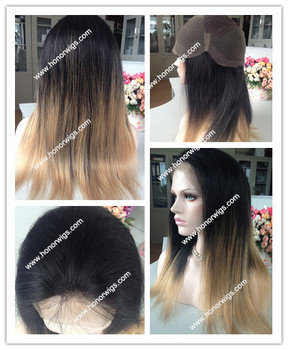 High quality peruvian virgin two tone color hair wig full lace wig in stock