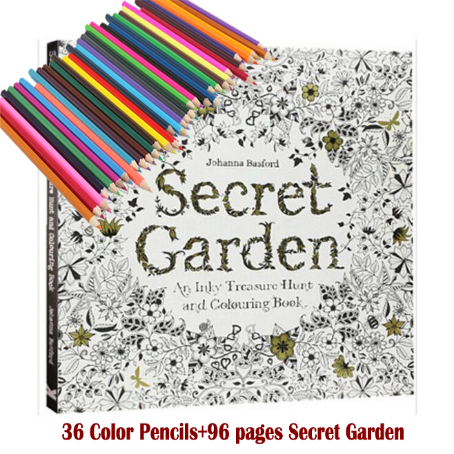 36 Color Pencils+96 pages English Secret Garden Coloring Books For Adult Hand-drawn Relieve Stress Graffiti Painting Libros(China (Mainland))