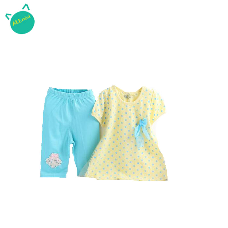 *ALLMINI* new 2016 summer cute polka dot o-neck sleeveless and pullover cotton infant baby clothes casual fashion baby sets(China (Mainland))