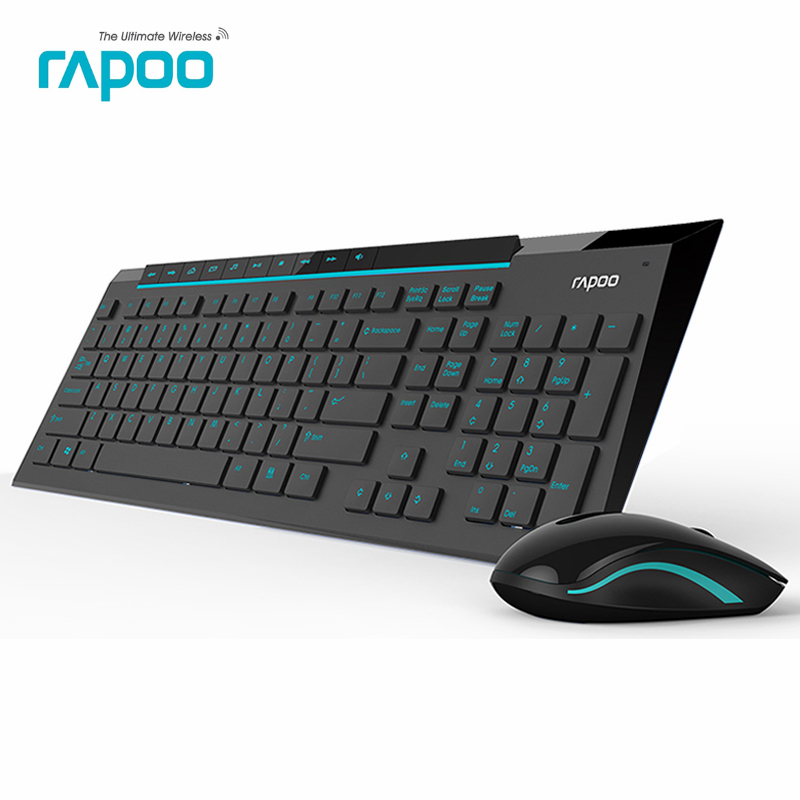 Rapoo 8200P Multimedia Wireless Keyboard Mouse Combos with Fashionable Ultra Thin Whaterproof Silent Mice for Computer Gaming TV(China (Mainland))
