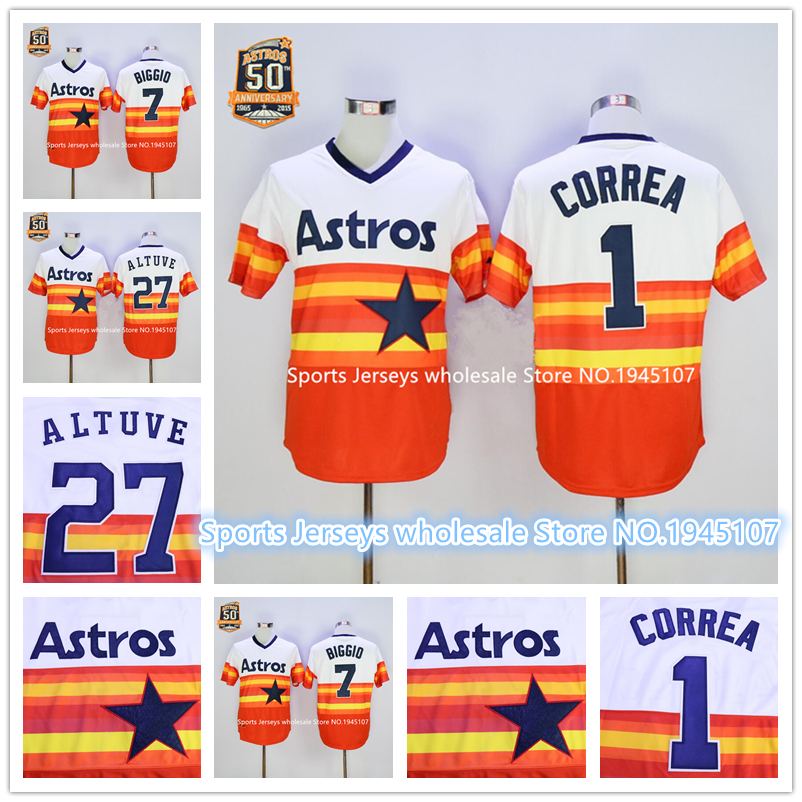 Houston Astros #1 Carlos Correa White/Orange 1980 Turn Back The Clock Stitched MLB Jersey<br><br>Aliexpress