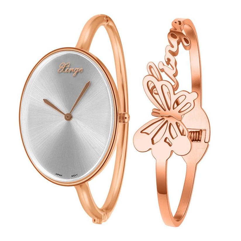 Hot Marketing Women Gold Rhinestone Bangle Watch And Bracelet Set WJul8(China (Mainland))