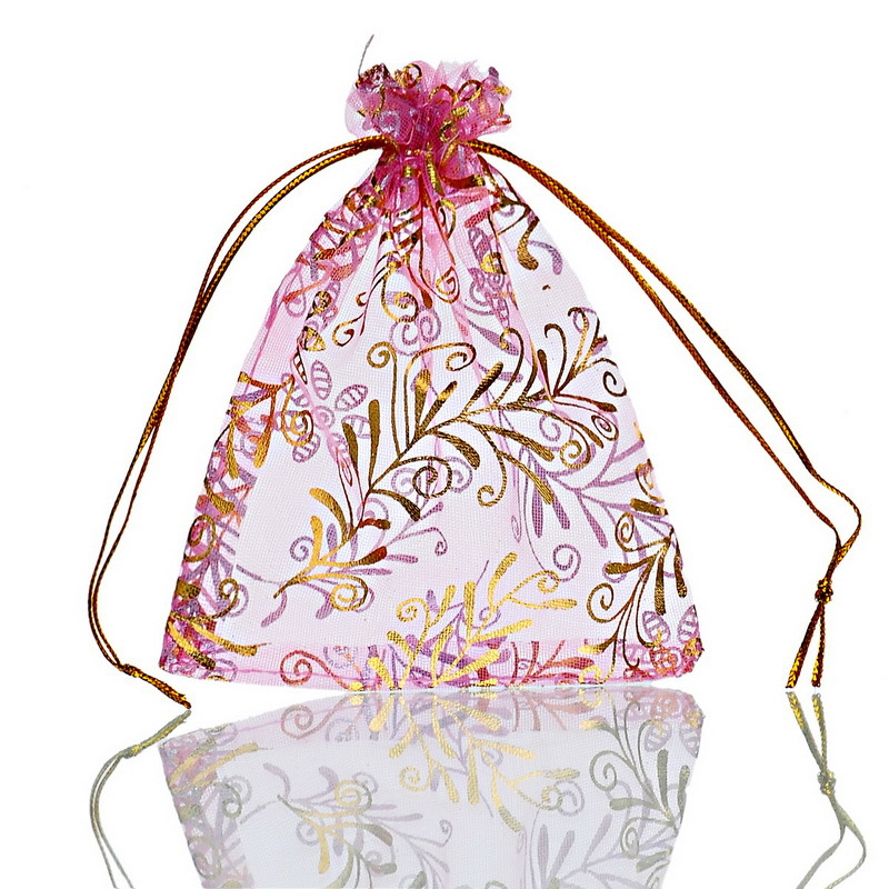 2016 New Fashion 25PCs Organza Wedding Gift Bags&Pouches Flowers and Plants Pink 11.5x9.7cm Jewelry Bags(China (Mainland))