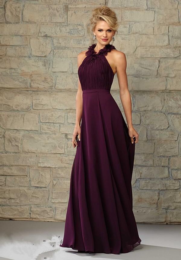Halter with flowers backless dark purple bridesmaid dress for Dark purple wedding dresses