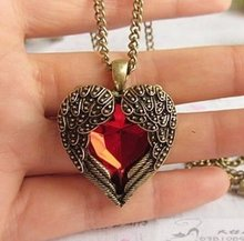 12 pcs/lot Vintage Red Rhinestone Angel Wing Heart Pendant Necklace SN149(China (Mainland))