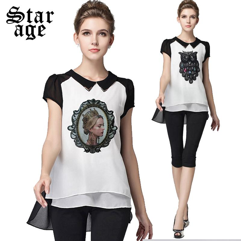 L-5XL Brand Plus Size Diamond Beaded Owl Chiffon Blouses Contrast Color Black Shirts 2015 Summer Ladies Embroidery Tops 3261(China (Mainland))