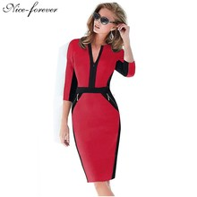 Nice-forever Office Women Zipper special New Arrival Plus Size fashion patchwork V neck formal work bodycon Midi dress 837(China (Mainland))