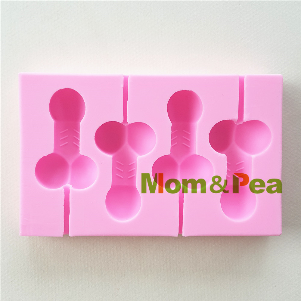 Mom&Pea 1058 Free Shipping Penis Lollipop Shaped Silicone Mold Cake Decoration Fondant Cake 3D Mold Food Grade(China (Mainland))