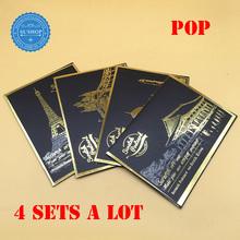 Оптовая продажа поп-арт работает 4 компл. известный города скреста открытка золотой цвет скреста ночной вид искусства открытку скреста открытка