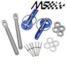 Universal Original Logo Car Racing Engine Bonnet Silver Hood Pin Flip Over Security Lock Kit Set(China (Mainland))