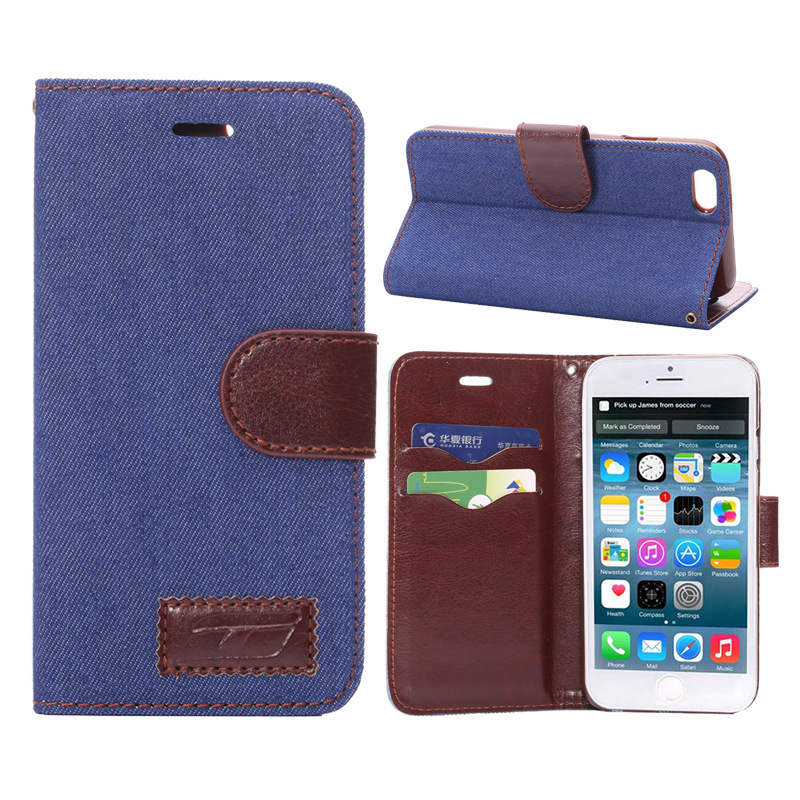 2015 denim leather cases protective sleeve stand stents/Card wallet iphone 6 plus - Shenzhen Aitop Co., LTD store