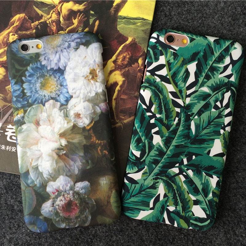 Fashion Tropical Green Leaf case For iphone 5 5s 5se Phone Cases For iphone 7 6 6S Plus Cute Cartoon Banana Leaves Back Cover(China (Mainland))