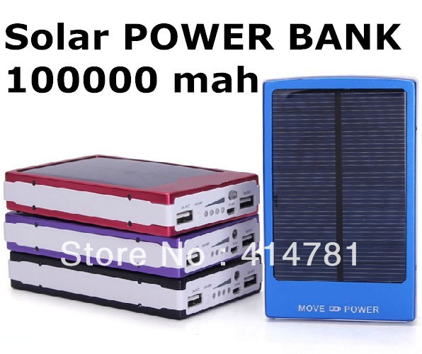 Free shiping New Solar Power Bank 100000mah Portable Solar Battery Middle East Hot sale Charging Battery for All mobile phones(China (Mainland))