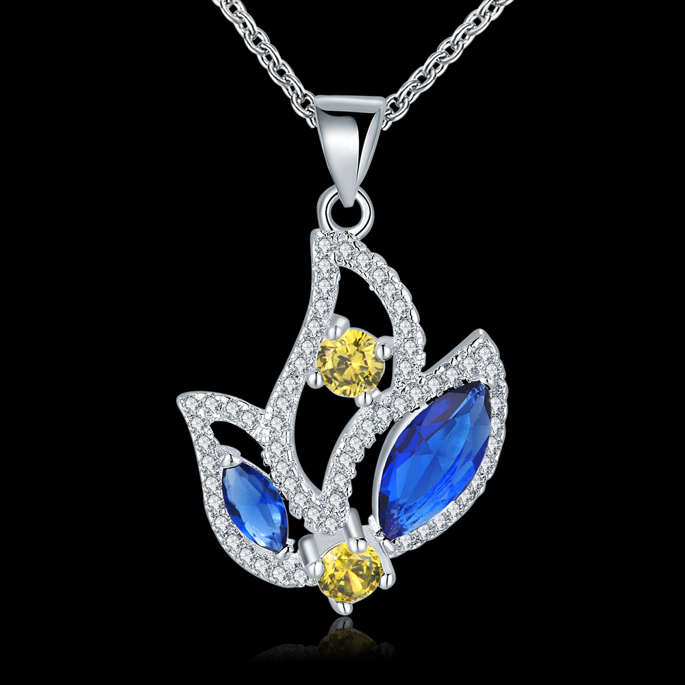 fashion new 2015 jewelry inlaid colorful stones necklace women sterling 925 silver necklace trendy crystal jewlery