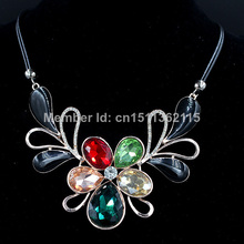 2014 New High Quality Colour Flower Shaped Rhinestone Necklaces & Pendants Fashion Women Jewelry Statement Collar Necklace(China (Mainland))