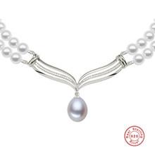 [MeiBaPJ] luksusowe moda ślubna panna młoda naszyjnik biżuteria 8-9mm duży naturalna perła słodkowodna naszyjnik ze srebra próby 925 biżuteria(China)