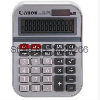 1 Piece Canon WS-112G 12 Digits Genuine Calculator Solar Dual Power Desktop metal panel large-screen display(China (Mainland))