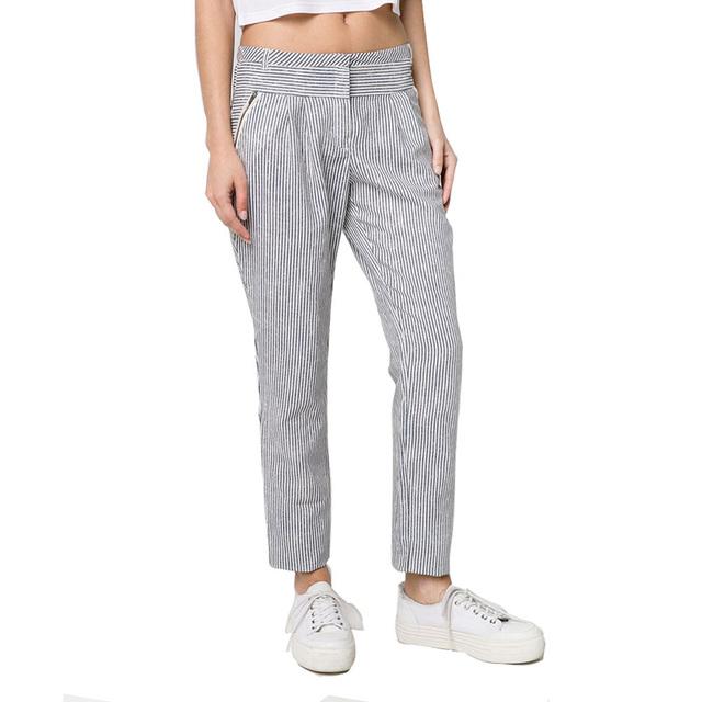 Женщины полосатый гарем брюки уличной моды носить брюки основные офисные брюки Roupas ...