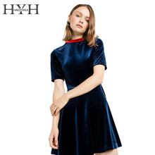 Buy HYH HAOYIHUI Women Dress Sexy Short Sleeve Velvet A-line Mini Dress High Waist Shaping Slim Elegant Streetwear Dress Vestidos for $13.49 in AliExpress store