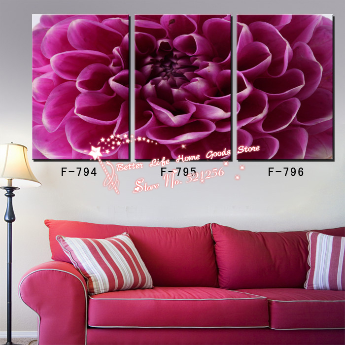Modern Wall Art Home Decoration Printed Oil Painting Pictures No Frame 3 Panel Cheap Office Art Large Purple Dahlia Flower Decor(China (Mainland))