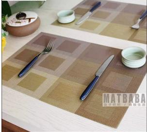 New Arrivals Europe style exquisite PVC non-slip placemat dinner table insulation mat 6pcs/lots free shipping(China (Mainland))