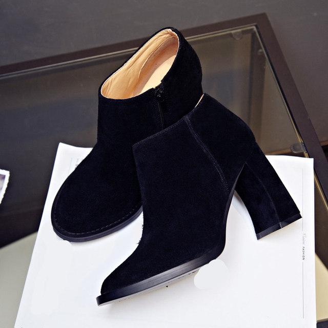 Кожа коровы мода ботильоны нубука из натуральной кожи ботинки женщин странные стиль туфли на каблуках размеры 22 см - 25 см