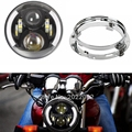 Daymaker Generation 2 LED Headlight With 7inch Round Headlight Ring Mounting Bracket for Harley jeep