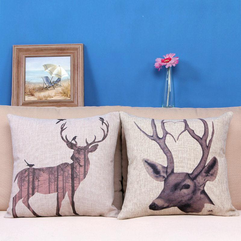 Free Shipping Black White Elephant Cotton Linen Fabric Decorative Cushion 45cm Hot Sale New Home Fashion Christmas Gift Pillow