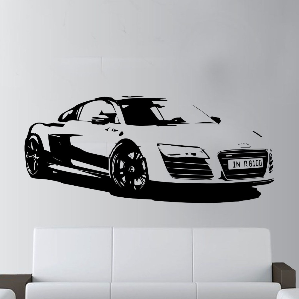 57x130cm fashion large car audi r8 coupe sports wall art decal home decor racing car wall paper art vinyl art mural kw 331