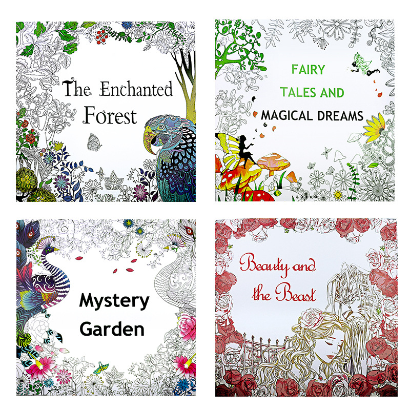 4 Pcs 2525cm Enchanted Forest Beauty And The Beast Secret Garden Fairy Tale Dream Coloring Book