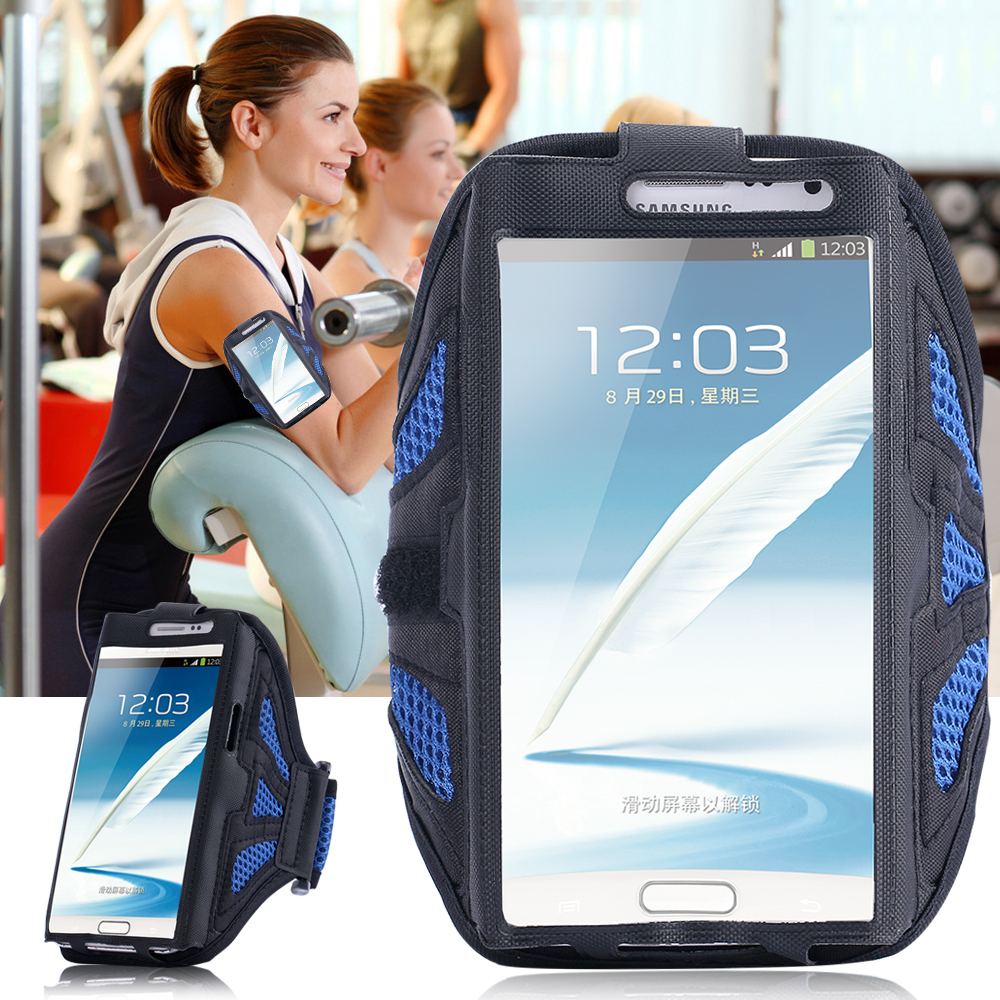 Luxury Velcro Workout Cover Sport Gym Arm Band Case For Samsung Galaxy Note 2 3 4 N7100 N9000 PU Leather + Nylon Net Holder Belt(China (Mainland))