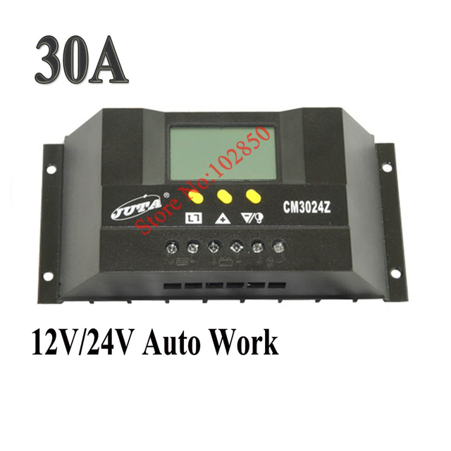 LCD 30A 12/24V auto work,intelligent PWM solar charge controller,solar system controller,solar panel charge regulator