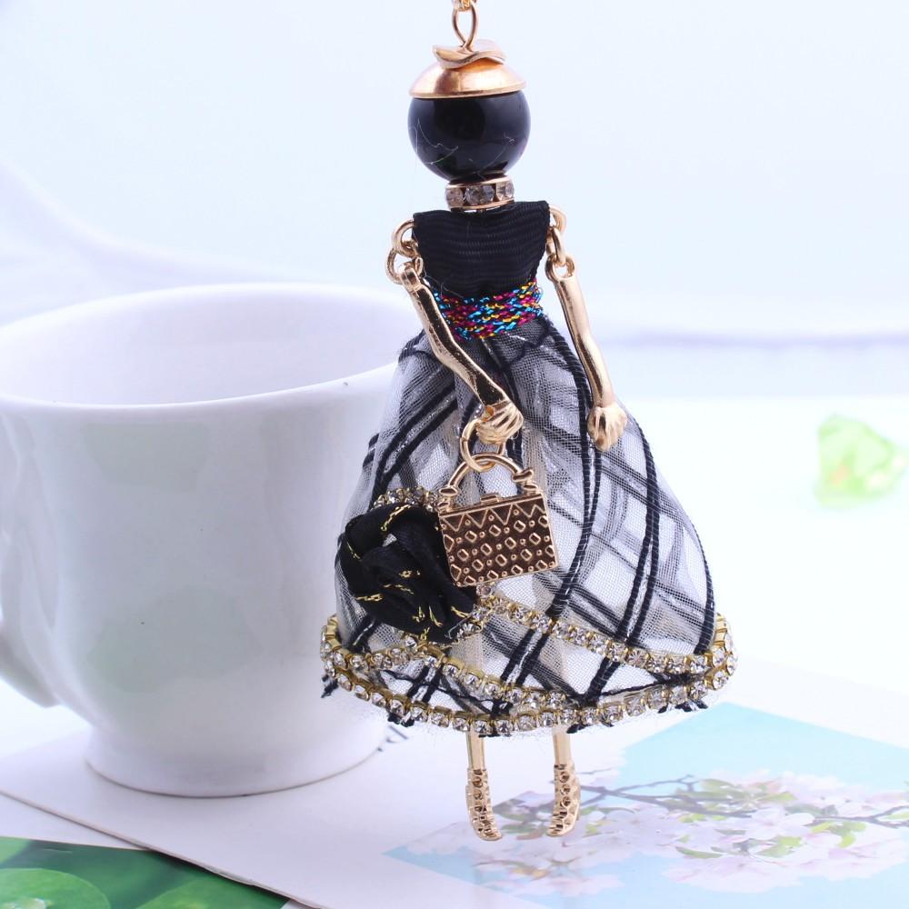Statement Flower Doll Necklace Dress Handmade French Doll Pendant 2016 News Alloy Girl Women Flower Fashion Jewelry(China (Mainland))