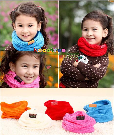 Children's Muffler Autumn Summer and Winter Warm Scarf Children Baby Boy Girls Knitted O-Scarf ,kids candy warm neck bib scarf(China (Mainland))
