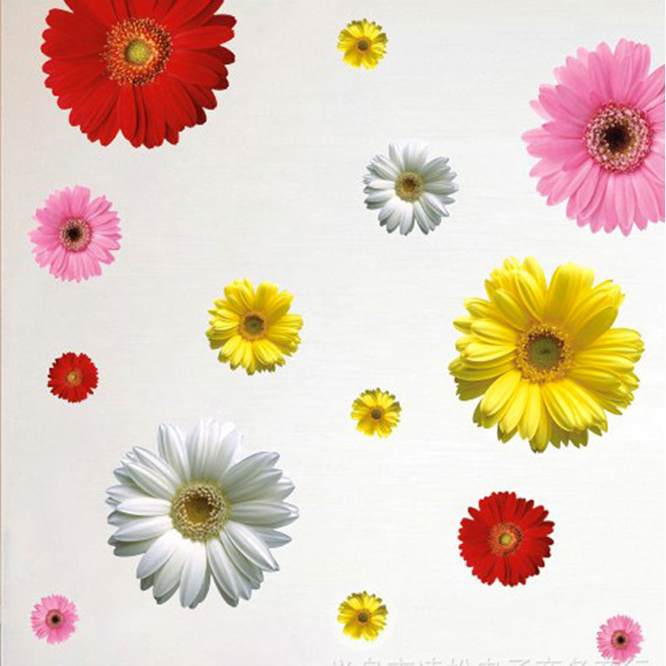 2016 New Decorative Combination DIY Colorful Flower Wall Sticker 4 Colors Daisy Art Decor Home/Bathroom Bedroom Stickers 45*65cm(China (Mainland))