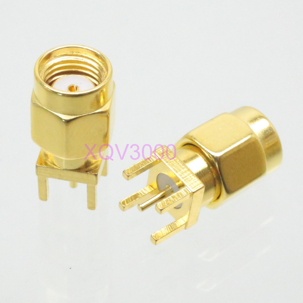 3pcs Connector RP-SMA male jack pin solder PCB mount straight RF COAXIAL(China (Mainland))