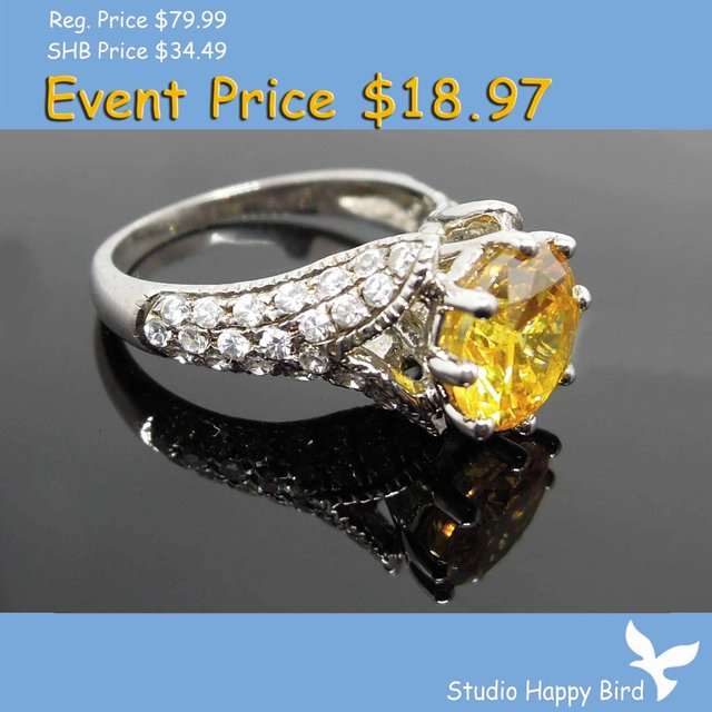 PROMOTION Birthstone Ring! Round Yellow Zircon Imitated Citrine Silver Ring w/Diamante Flower Shoulders,2 YEAR JEWELRY REPAIR