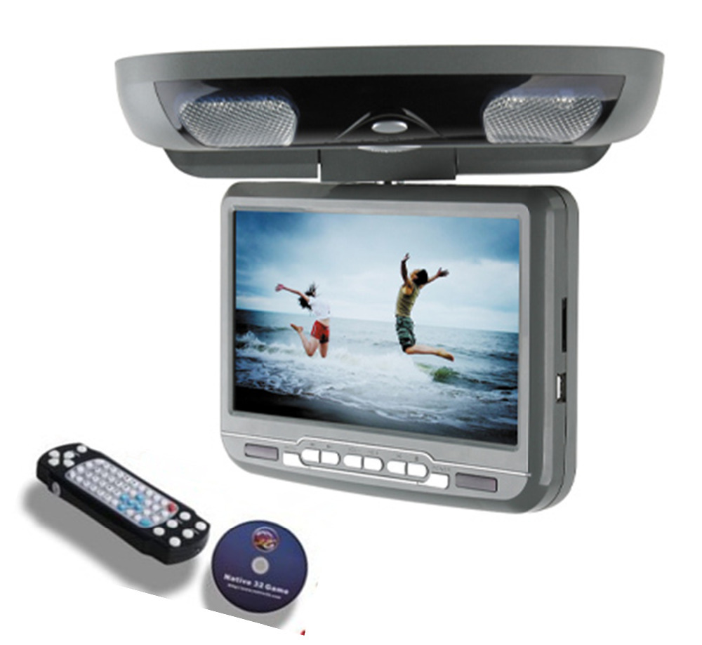 9inch HD Down Roof Mount Car DVD Player Monitor styling With IR/FM transmitter+USB+SD+32Bit Game TV Optional(China (Mainland))