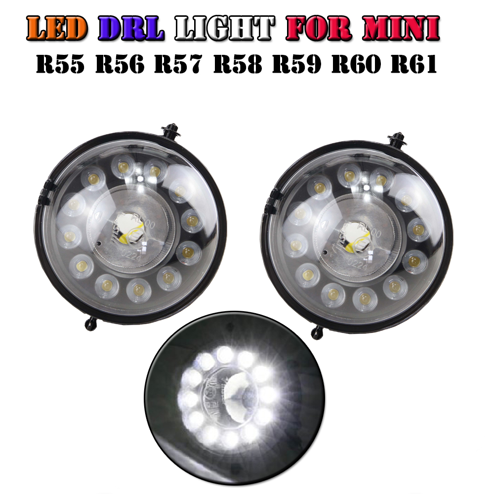 Brand new Assembly Kit Exact for MINI Cooper R55 R56 R57 R58 R59 R60 Led drl lamp, 12-CREE LED Daytime Running Lights Fog Lamps<br><br>Aliexpress