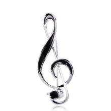 FUNMOR Semplice Figura della Nota Musicale Spilla In Oro di Colore Nero Smalto Spille Per Le Donne Degli Uomini Concerto Dei Monili Musicista Risvolto Spilli Regali(China)