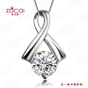 ZOCAI GRACE REAL NATURAL 0.23 CT DIAMOND SOLID 18K WHITE GOLD PENDANT PENDANTS 925 STERLING SILVER CHAIN  NECKLACE FREE SHIPPING