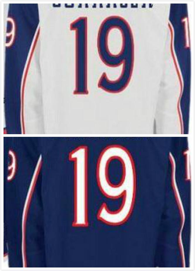 Ryan Johansen Jersey #19 Columbus Blue Jackets Jersey Blue White Hockey   Jerseys Stitched Free Shipping