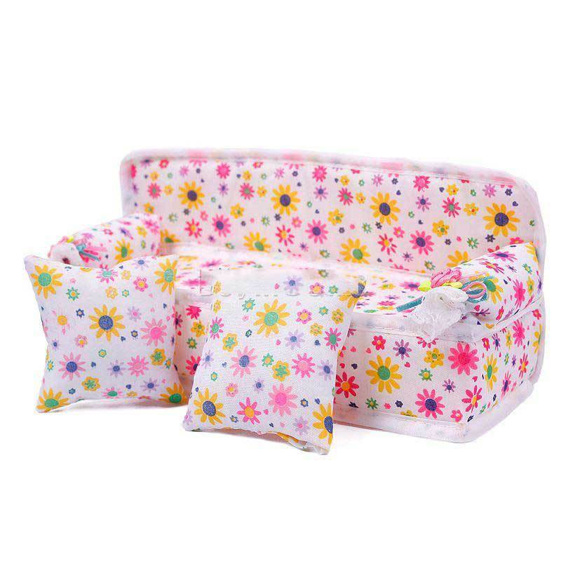 BulkPrice Shop Mini Furniture Flower Sofa Couch +2 Cushions For Barbie Doll House Accessories(China (Mainland))