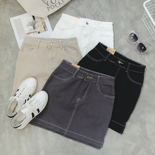 2016 New Pencil Jeans High Waist Denim Skirt Solid Color Plus Size XL American Apparel Women Slim Vintage Mini Skits