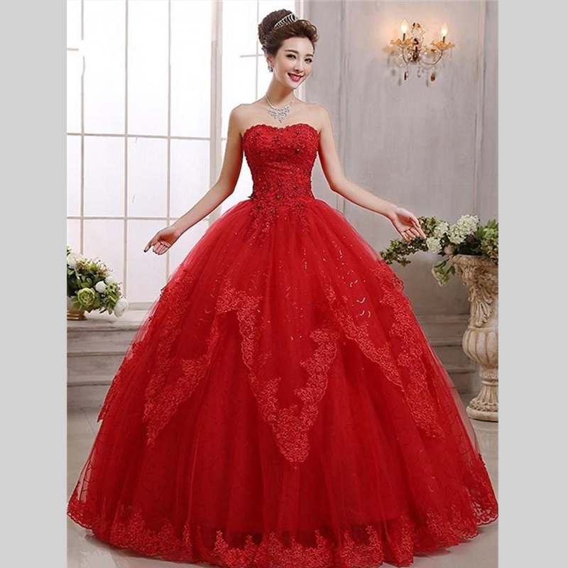 2015 new design ball gown lace long wedding dresses red for Crystal design wedding dresses price