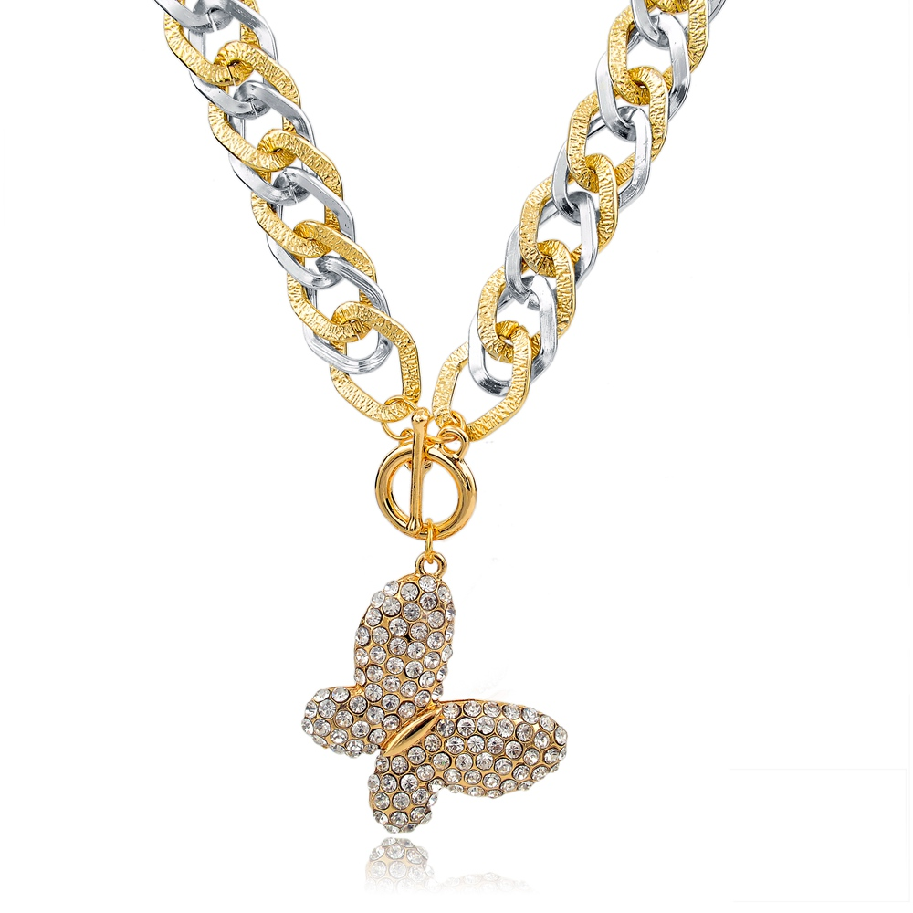vintage statement butterfly pendant gold necklace designs