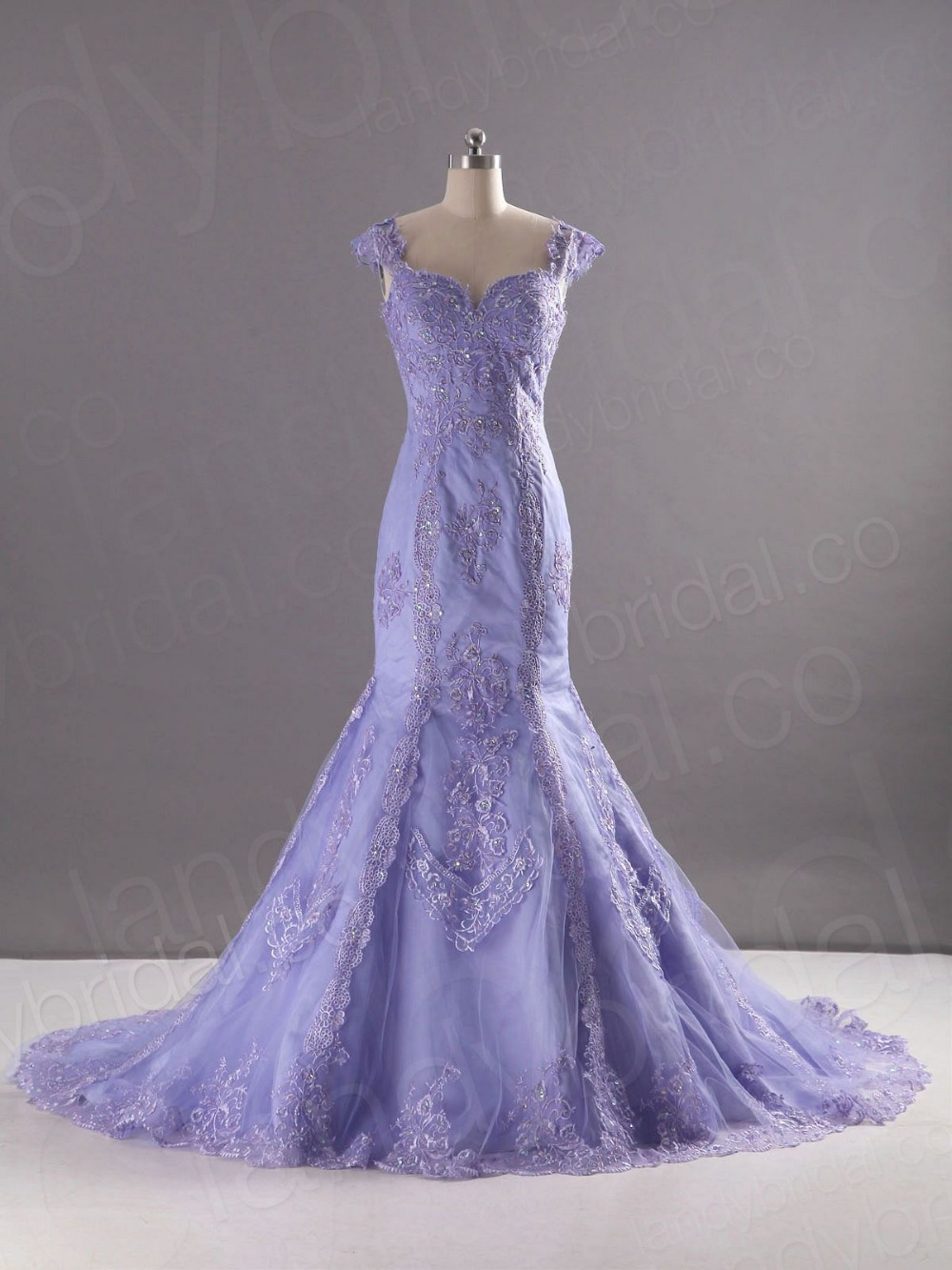 New collection sweetheart lavender purple lace with for Purple lace wedding dress